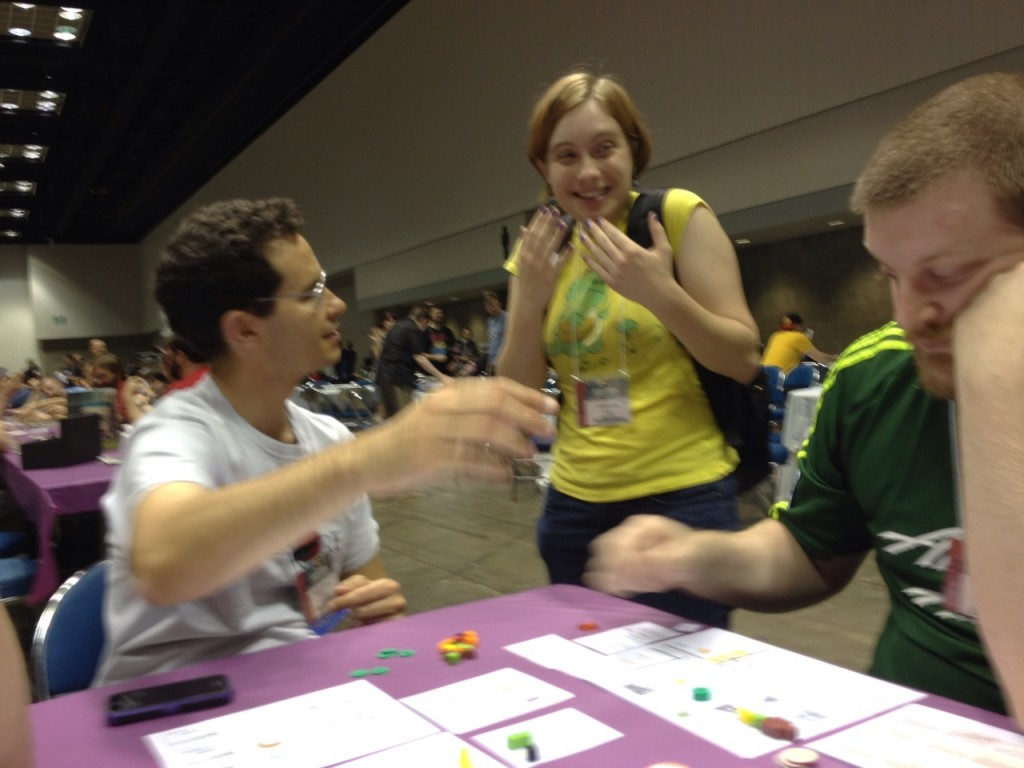 A very excited GenCon goer who happened upon a Brew Crafters playtest. Beer and cardboard has that effect on people.