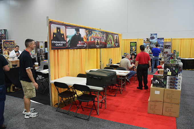 The Stronghold Games booth, home of our convention buddy and booth island partner Stephen Buonocore.
