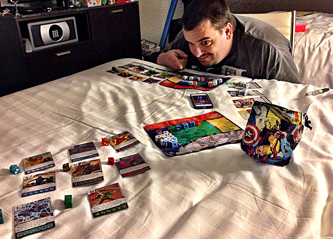 Late night Marvel Dice Masters with Darrell Louder. We wanted to get in some practice before our sealed booster draft tournament later in the week.
