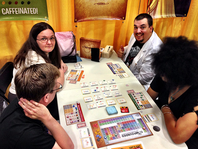 Darrell running demos of Compounded in the booth. That table was never empty.