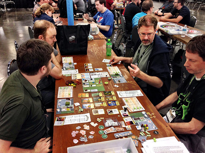 An after-hours demo run of Brew Crafters! The game was played several time during the convention and the buzz was really high.