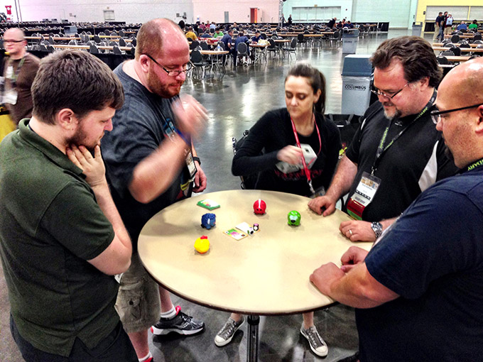 One of the cutest games of the con was Fun Farm. Several of us brought copies home. Here, Stephanie demonstrates her cat-like reflexes and Rain Man brain. It was pretty ridiculous trying to play against her.