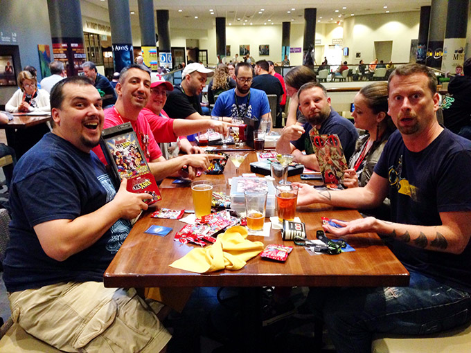 Marvel Dice Masters tourney at the Big Bar on 2! All of us were really into it. Well, most of us, anyway.