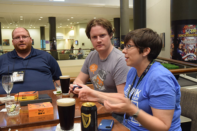 Our favorite little gaming spot at Origins is the Big Bar on 2 in the Hyatt. Here, TC acts creepy. Well, creepier than usual.