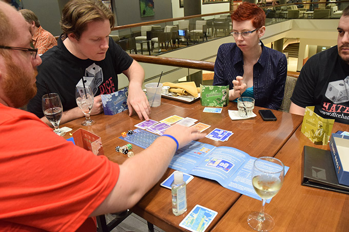 Blueprints at the Big Bar on 2. I still have yet to play this game, even though I ruined a copy with a glass of whiskey at Unpub 4.