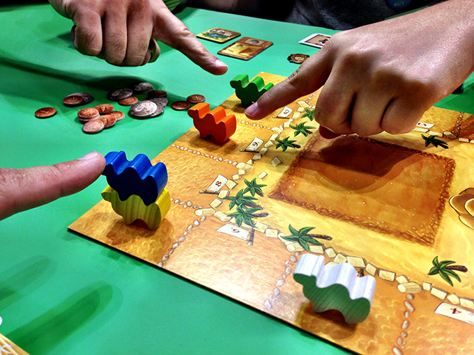 Possibly the game that saw the most play at GenCon was the Spiel des Jahres winner Camel Up. Z-Man had it for sale there, and it's the one title that I regret not picking up. This camel-racing game is so easy to play, with truly rewarding gameplay and press-your-luck tactics.