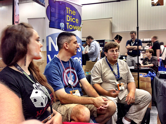On Friday, we got a chance to record a portion of the Geek All-Stars podcast in the Dice Tower booth. Here you see Stephanie Straw, Dan Patriss and guest co-host Eric Handler discussing all the cool stuff at the con.