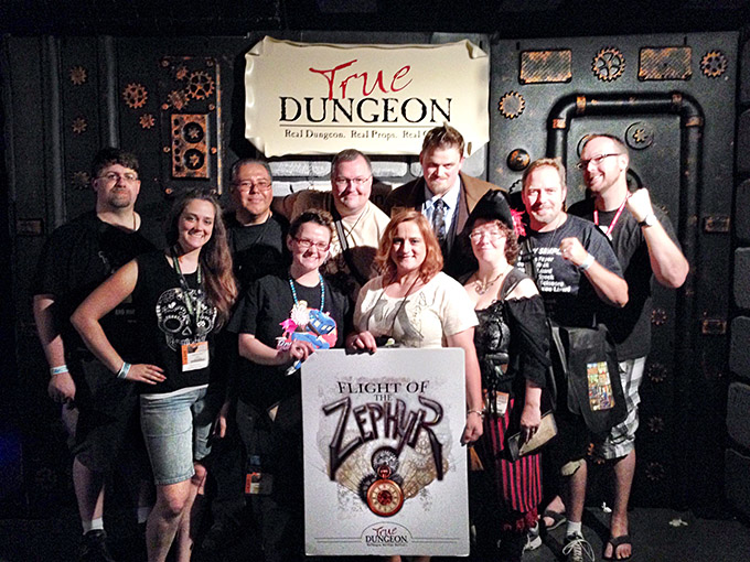 Saturday night at GenCon was pretty awesome, as Stephanie and I got a chance to experience True Dungeon with local friends Jed & Ashley Humphries. True Dungeon is sort of like Live Action Role Playing in a physical dungeon with puzzles and physical combat against baddies. It was an amazing experience, and I look forward to running another dungeon next year!