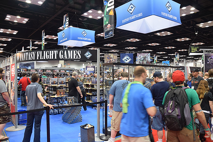 A view of the biggest booth at the con - Fantasy Flight Games. FFG was on the top of their sales game this year, with a system that kept gamers moving along at quick clip, saving time and energy. They really set the bar high, and I hope vendors at future shows pay attention to how they ran things.