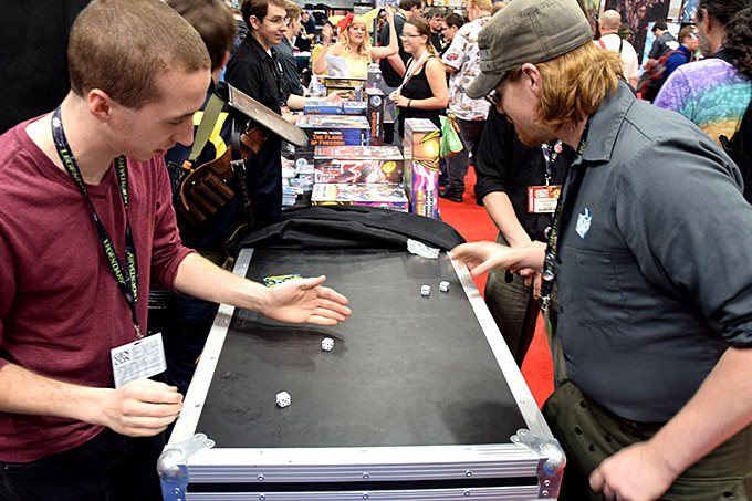 Angry Dice throwdown in the Greater Than Games booth with Craig McRoberts.