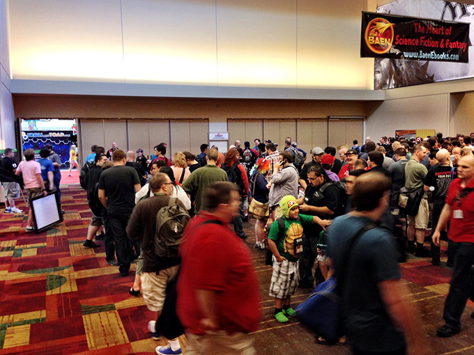 Thursday morning is the start of a tradition among the most diehard GenCon attendees - what I like to call The Running of the Bulls. That's when everyone lines up outside the Exhibitor Hall for a chance to snag all the hot games.