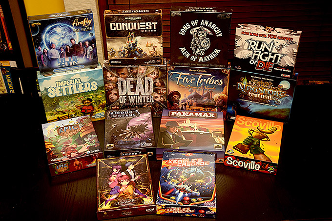 And, last but not least, the final game haul from GenCon. Many have been played, but there are still SO many to get on the table. Look for reviews of many of these on Dice Hate Me, and be sure to listen to the latest State of Games podcast for discussion of those we managed to play!