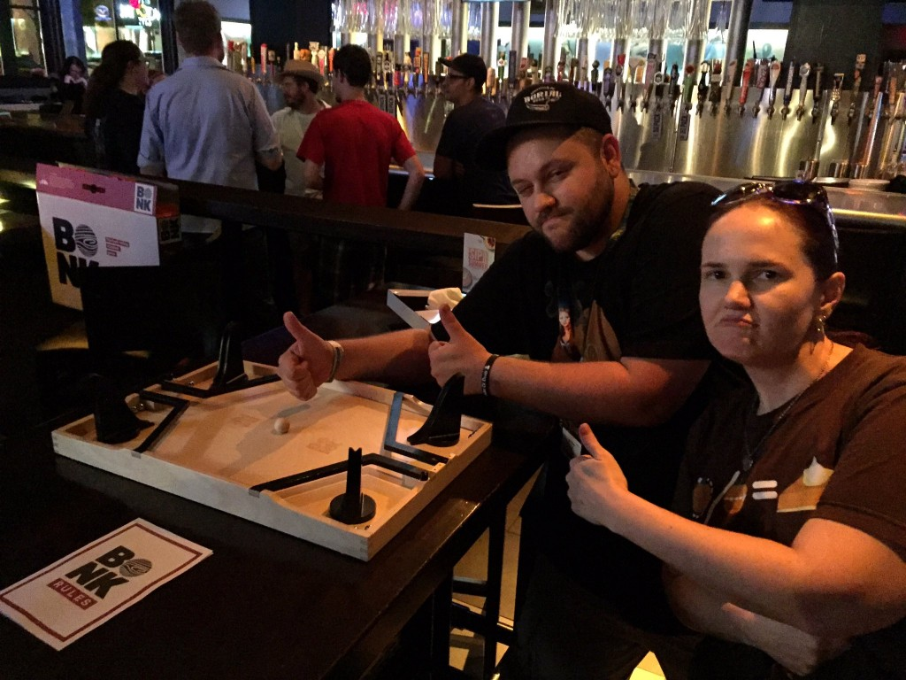 Another fun tradition is the Geek All-Stars meetup on Wednesday nights. This year we met at the Yardhouse for drinks and some dexterity games. Here, Jake Bock from Draft Mechanic and Lillian took me on in Bonk, which is an insane dex game where you fling steel balls all over the place.
