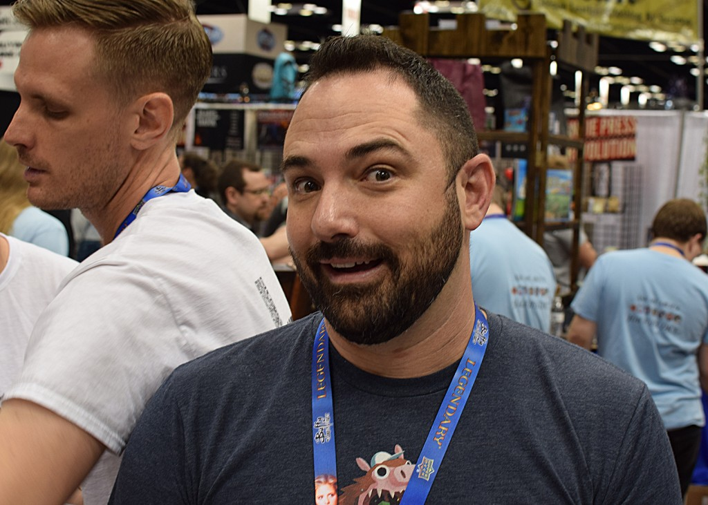 Brandon Nall of Brawling Bros. podcast (working the Inside Up Games booth).