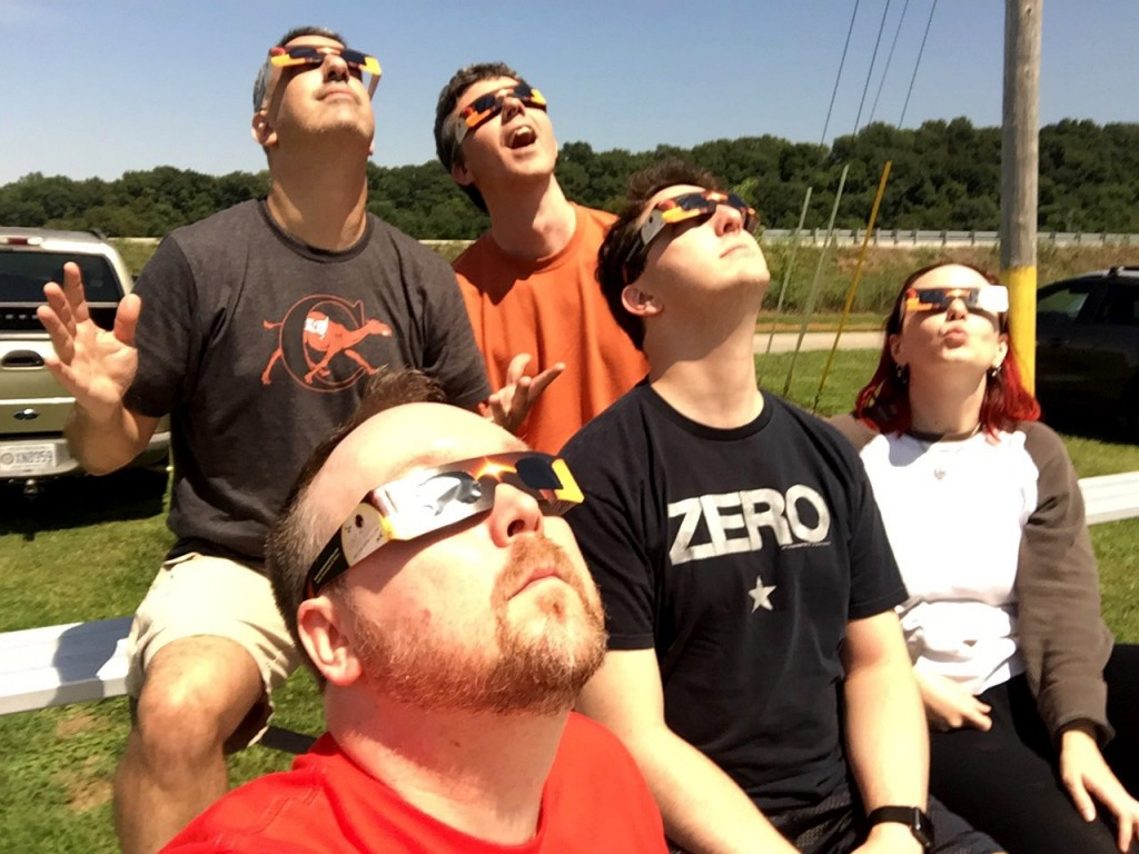 This Gen Con was special because it was the 50th anniversary. But it was made extra special because I got to witness a total eclipse in Bowling Green, Kentucky with awesome people - from left to right, Dan Patriss, Chris Mosley, Matt Wolfe, and Lillian Haggman.