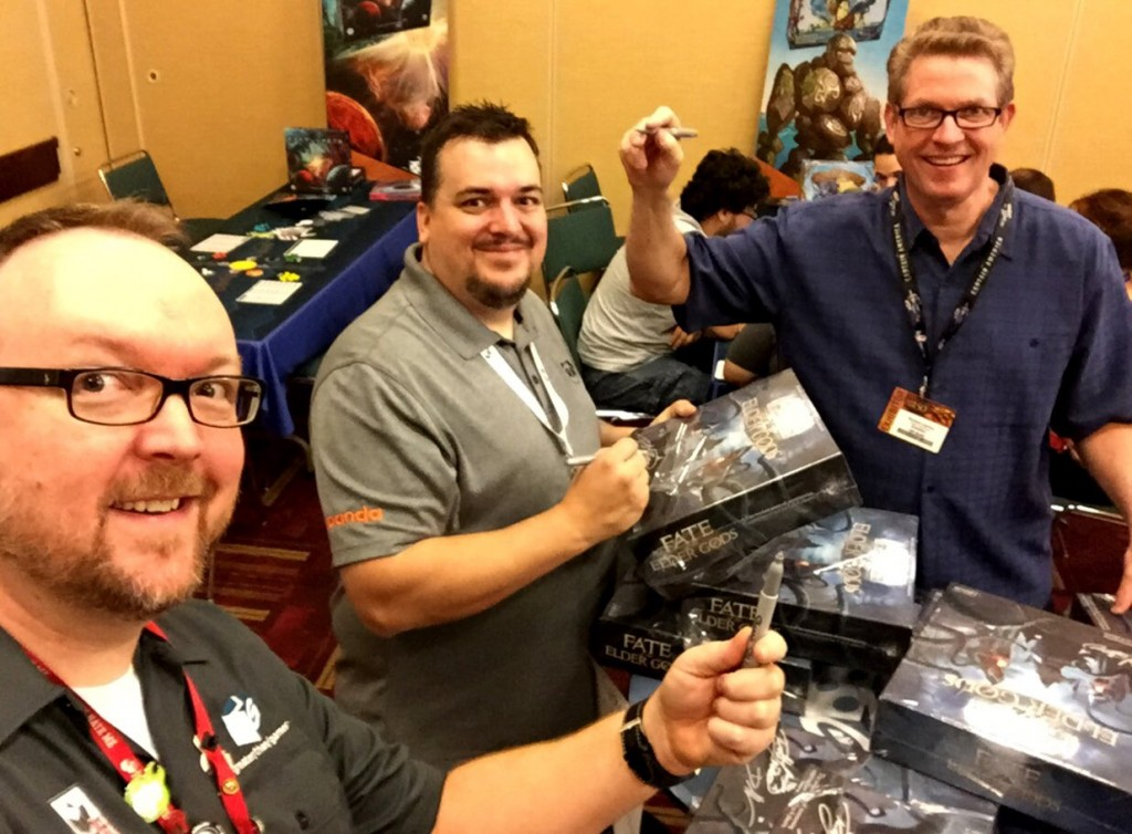 Richard Launius, Darrell, and I spent Thursday morning signing copies of Fate of the Elder Gods for people, as well as 90 of them for the Elder God level Kickstarter backers.