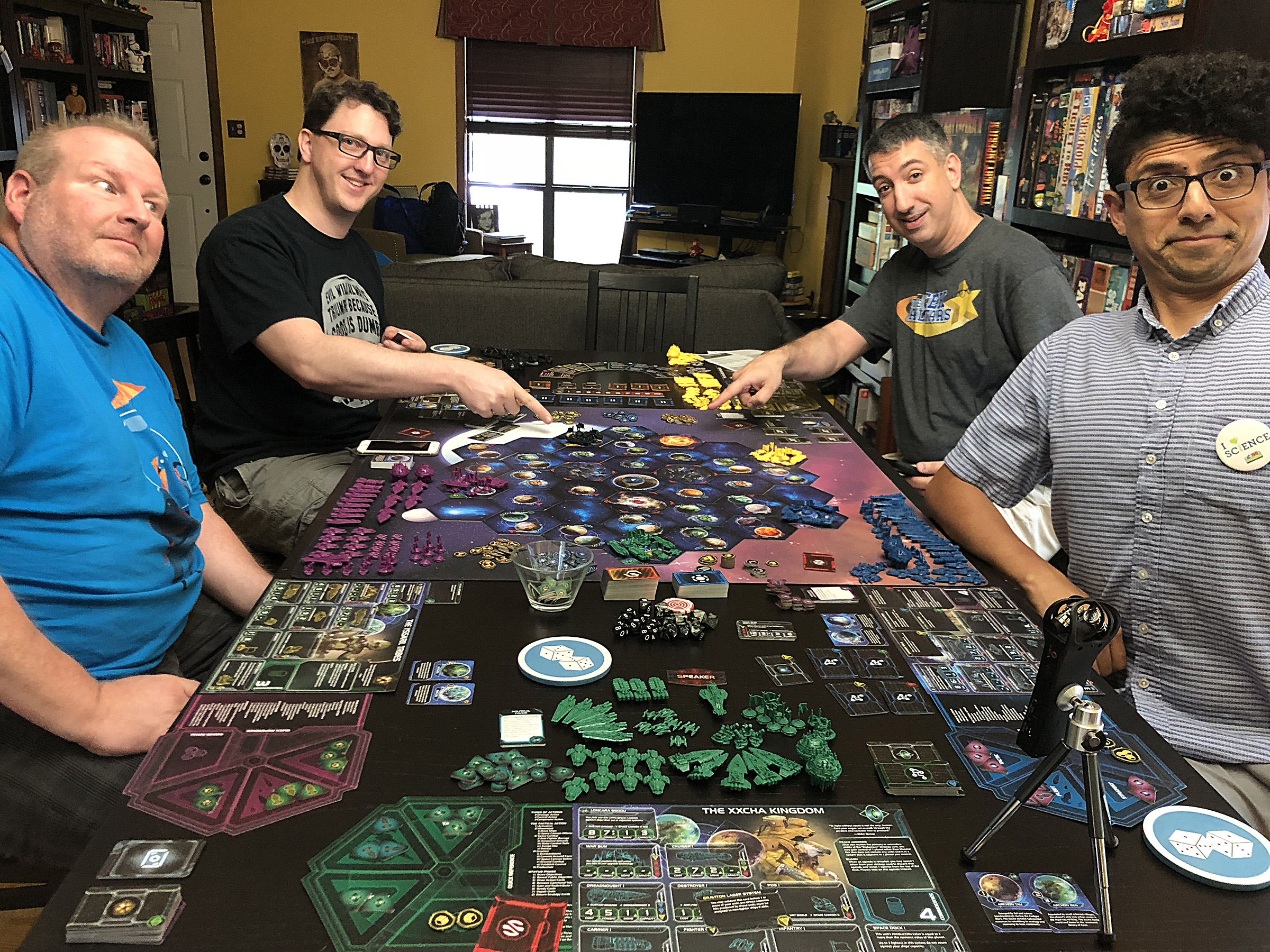 The combatants assemble to decide who will rule Mecatol Rex, and the galaxy! From left to right: Linus as Yssaril Tribes, Matt Wolfe as Naalu Collective, Dan Patriss as Yin Brotherhood, Daniel Solis as Universities of Jol-Nar.