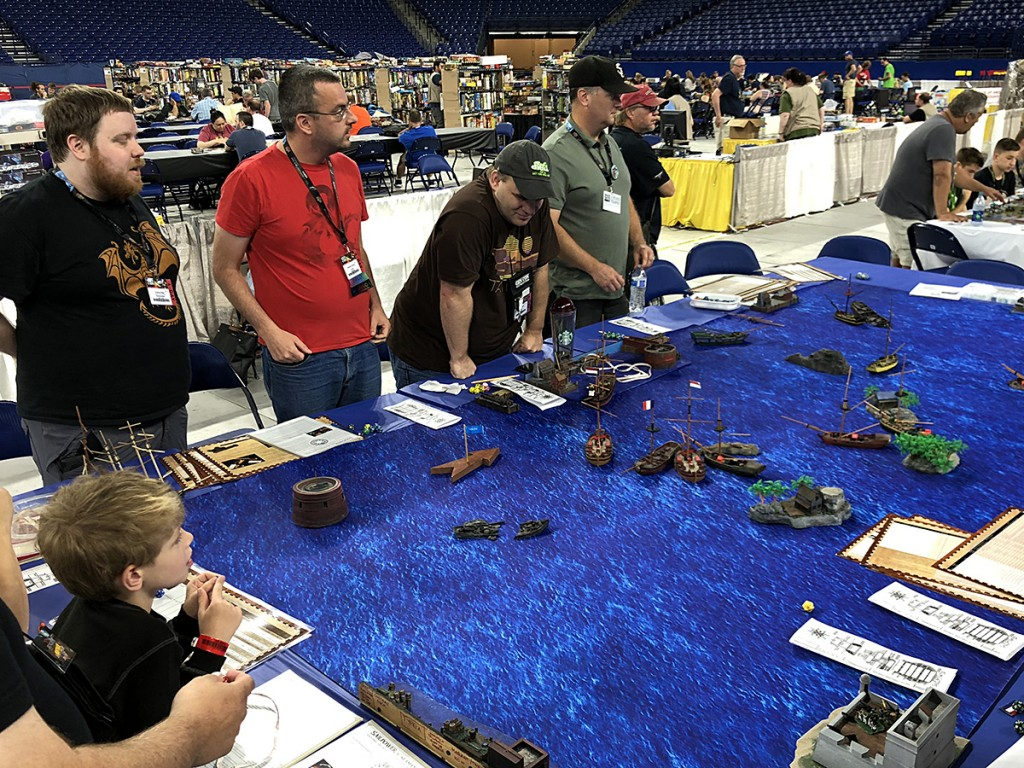 A lot of the special miniatures wargames were moved over to the stadium, which meant lots of cool things to check out. Here's a pirate game in progress with lots of incredible ship miniatures.