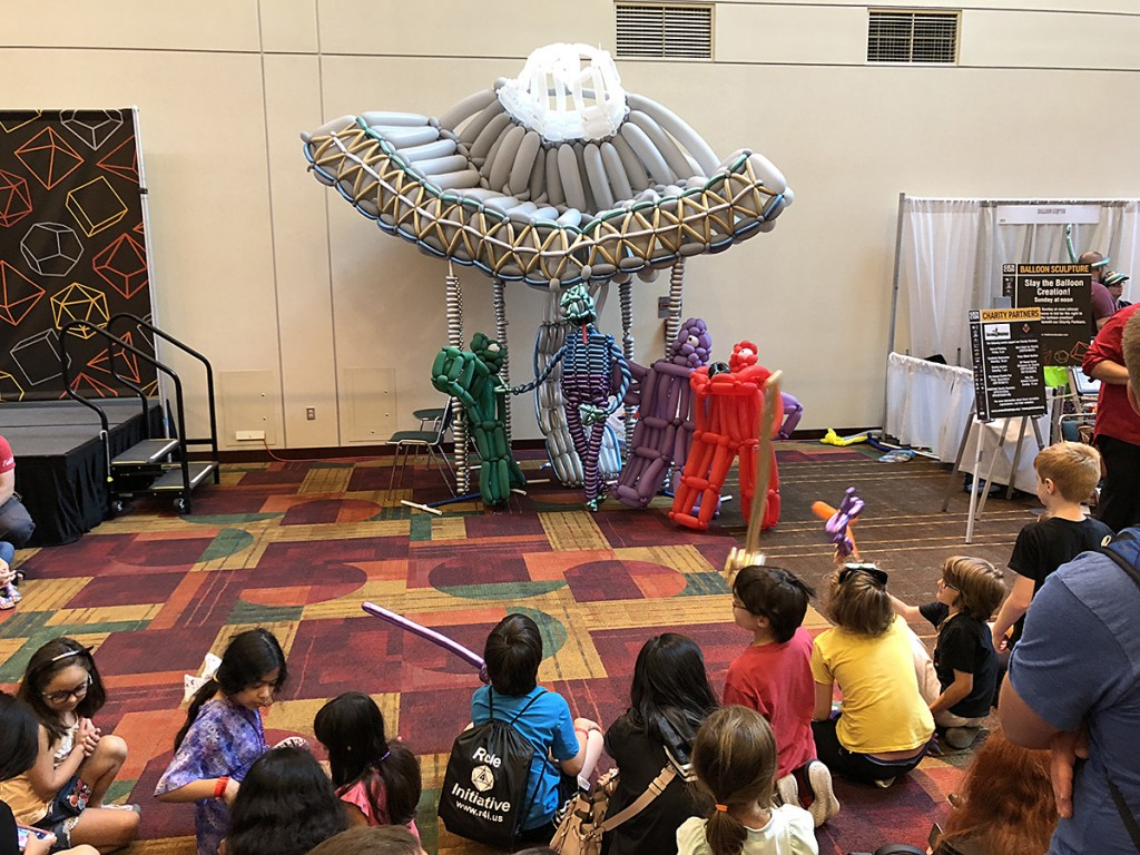 The balloon sculpture is always a fun tradition at Gen Con, and on Sunday a horde of kids with sticks were waiting to destroy it!