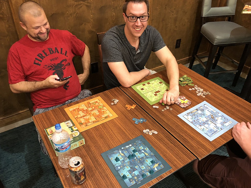 Scarabya, again with Dan and Kevin. This game was the talk of Gen Con, and it would not surprise me to see it in the running for a Spiel des Jahres award.