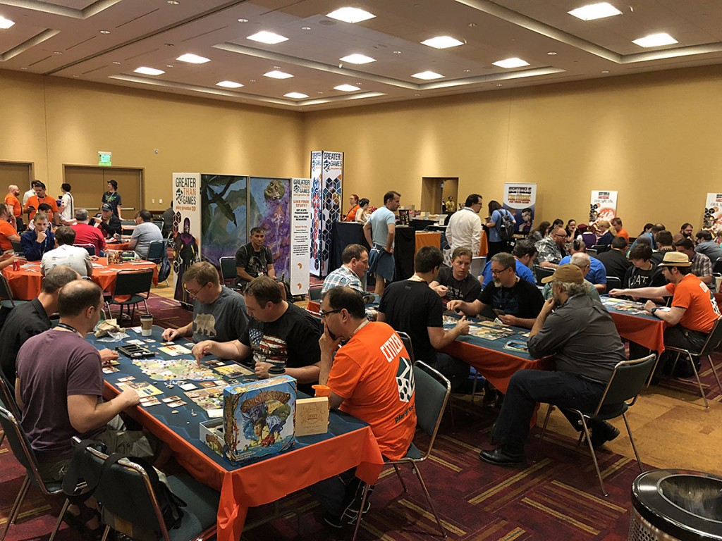 We had full demos of Spirit Island, Sentinels of the Multiverse: OblivAeon, The Sentinels RPG, Legends of Sleepy Hollow, Fate of the Elder Gods, and the upcoming Homebrewers. There was never an empty seat!