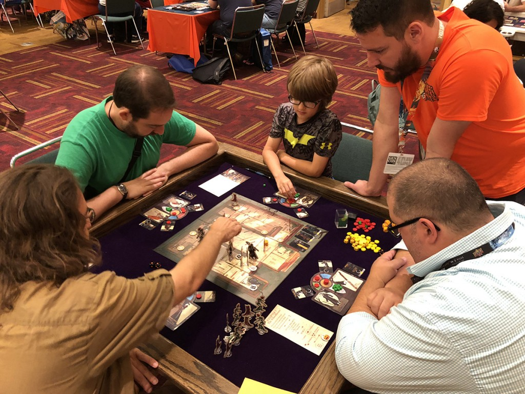 A game of Legends of Sleepy Hollow in progress. So many people played the game during Gen Con and had a great time, even if not everyone survived Chapter 1!