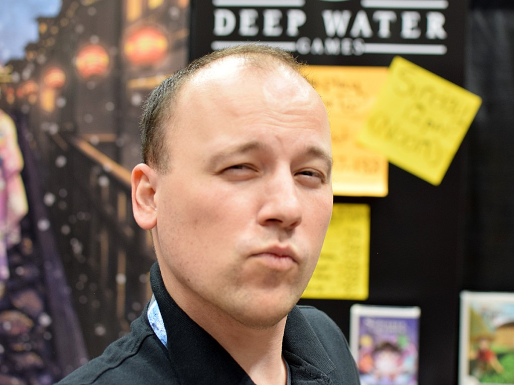 I got Zanged! Ian Zang practices his best Blue Steel in the Deep Water Games booth (publishers of the hit Welcome To...)