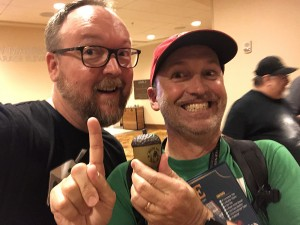 BJ Rozas of Boardgame Gumbo showing off his coveted acorn as champion of the Rolling Dice & Taking Names Strike tournament.
