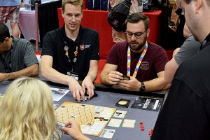 Clay Ross, founder of Capstone Games, running a demo of their Gen Con release, Watergate. It was my #1 most-anticipated game of the con.