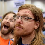 Craig McRoberts being his usual enthusiastic self on Gen Con Sunday (plus an added photobomb by Citizen extraordinaire Xander Orenstein).