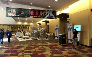 Our huge banner announcing Medium, set up right outside our demo room in the main hall across from the exhibit hall.
