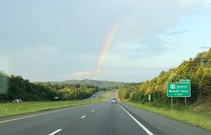 A beautiful rainbow near Mt. Airy and Pilot Mountain, NC. A great way to end another epic week at Gen Con. Hope to see you all there next year!