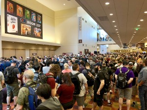 The crowd gathers outside the exhibit hall for the annual Running of the Bulls shopping spree on Thursday morning!