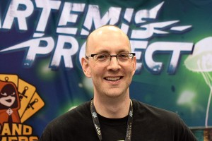 Grand Gamers Guild founder Marc Specter, in the booth and showing off the amazing The Artemis Project